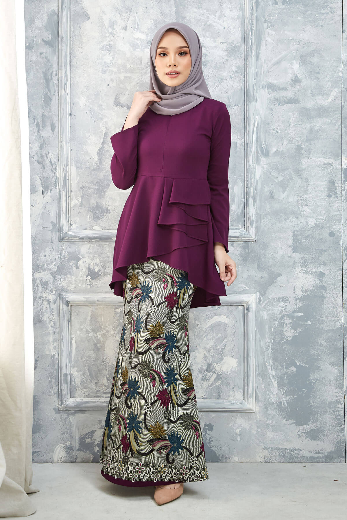 Kurung Mayang Dark Purple