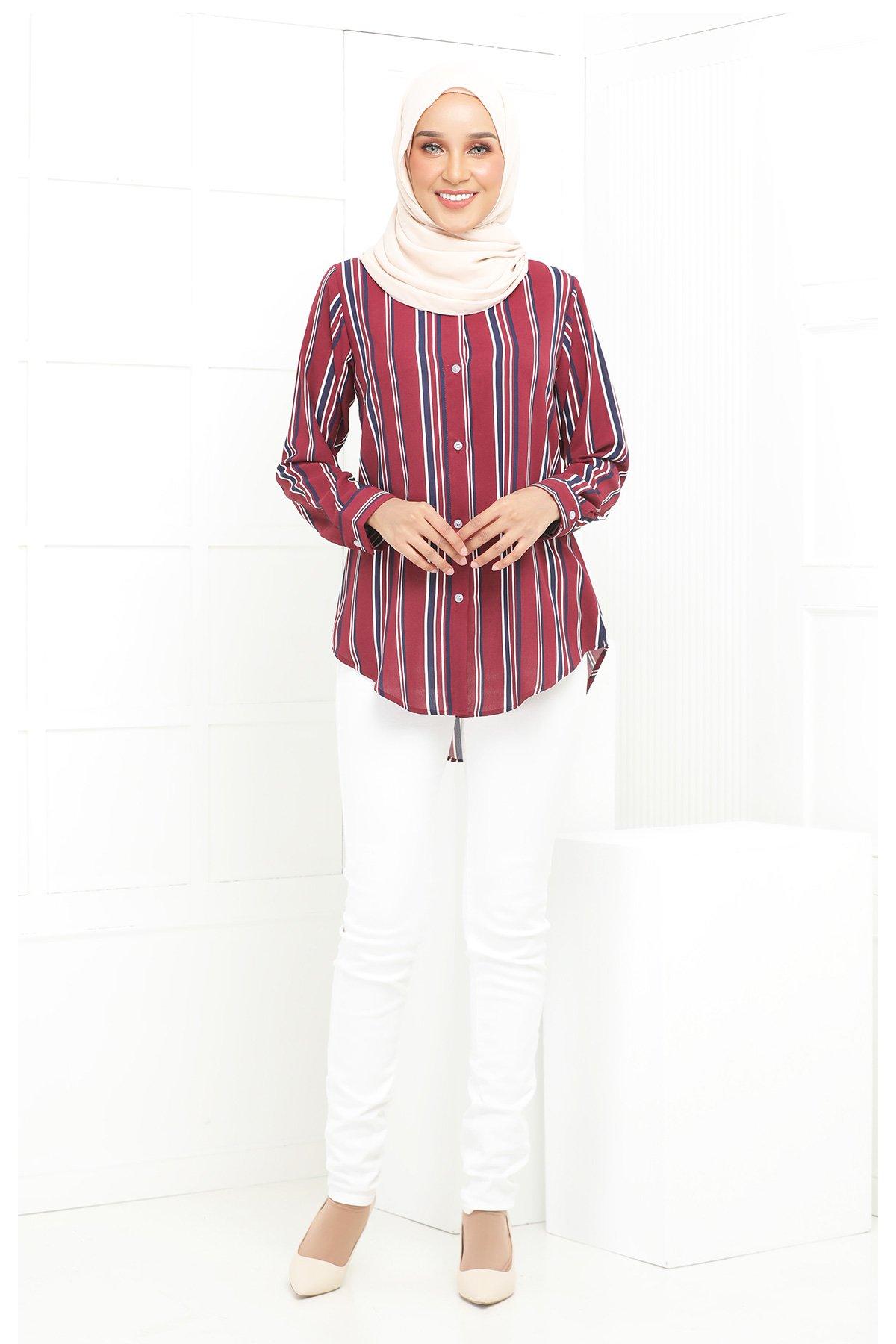 Wardina Maroon Stripe