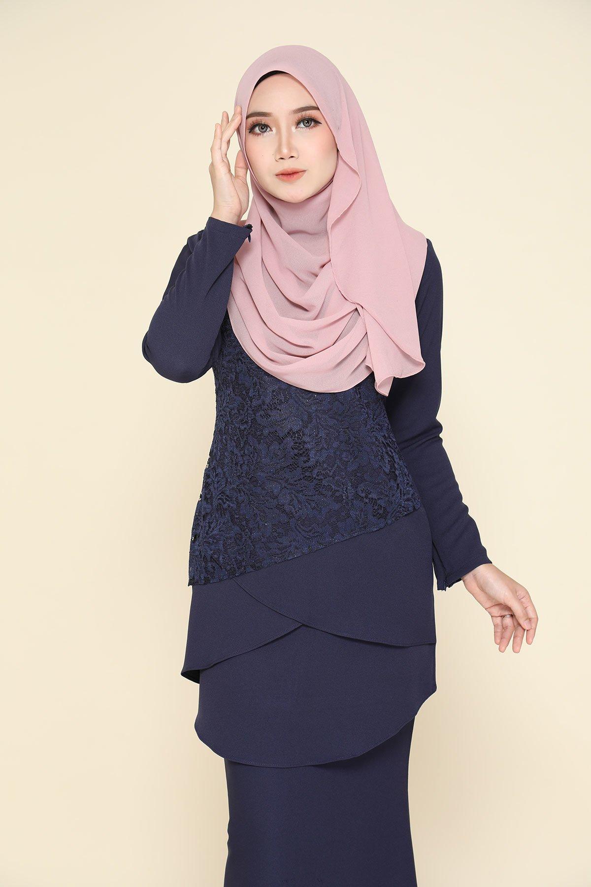 Kurung Fatimah Navy Blue