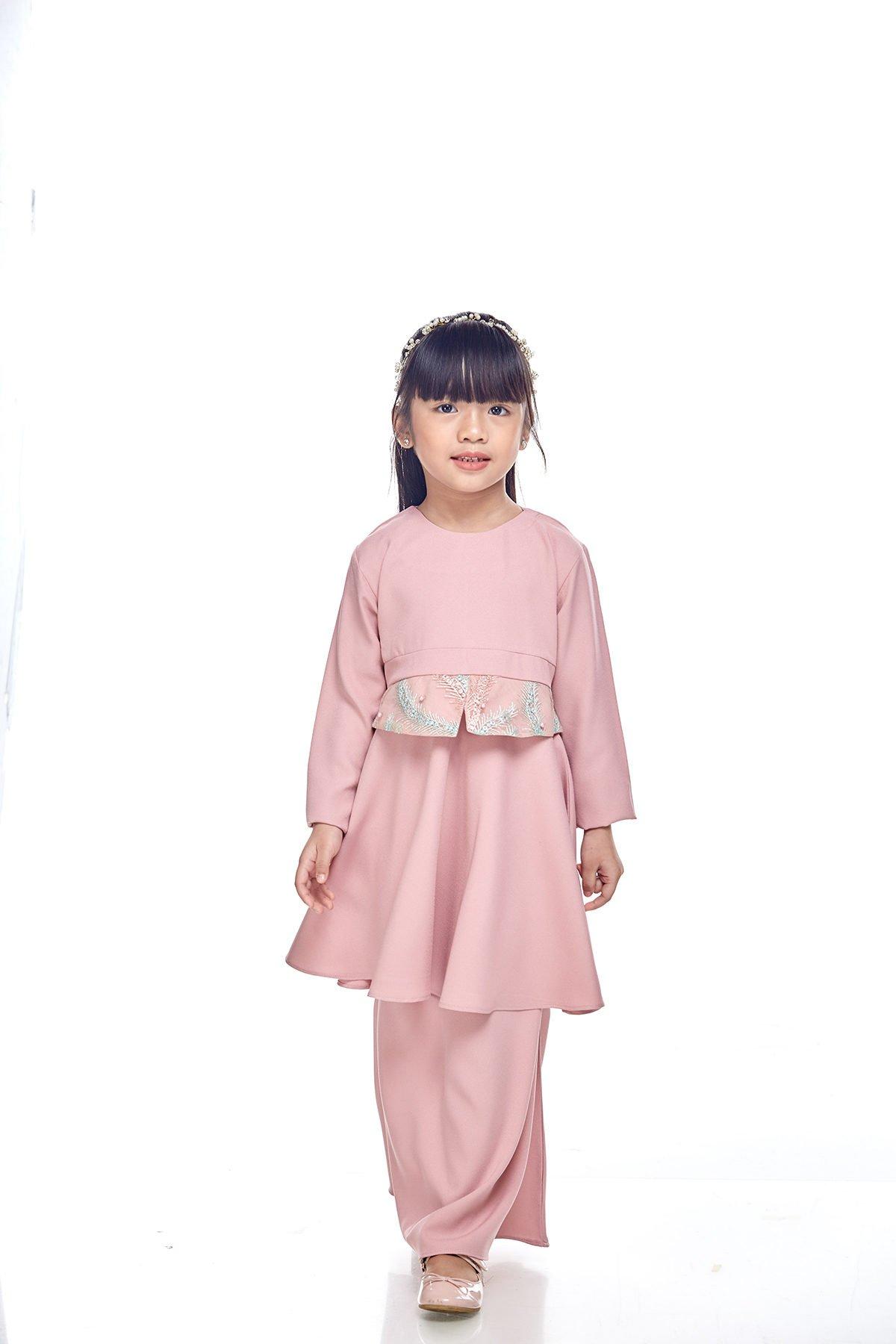 Kurung Moden Merida Kids Dusty Pink