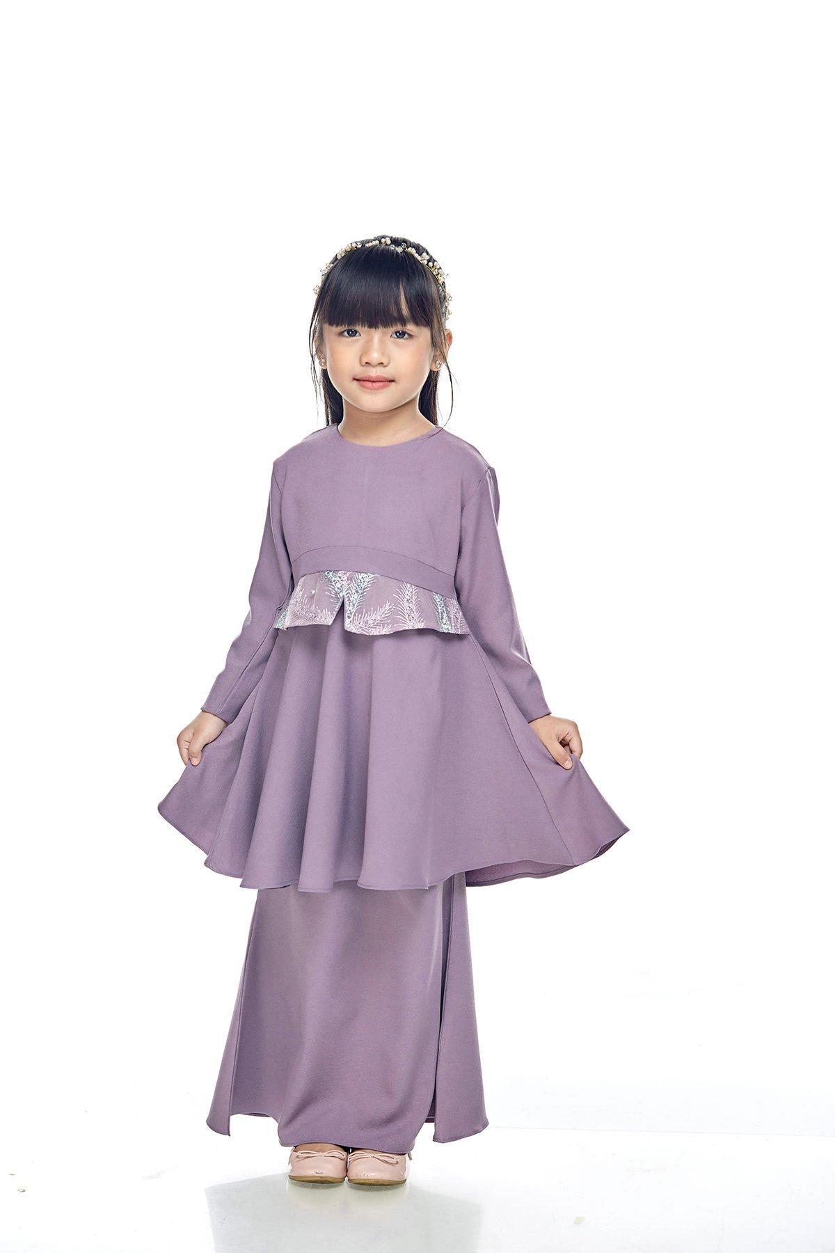 Kurung Moden Merida Kids Dusty Purple