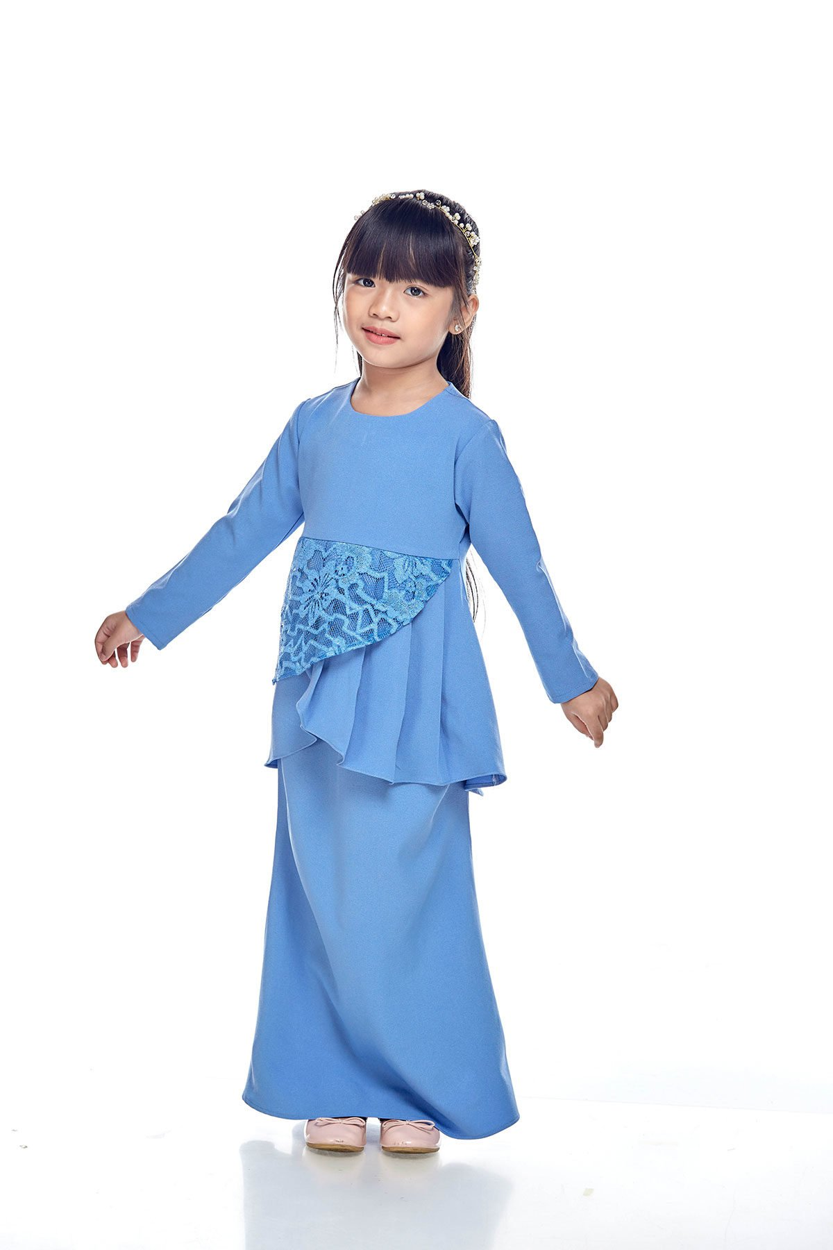 Tiana Peplum Kids Dusty Blue