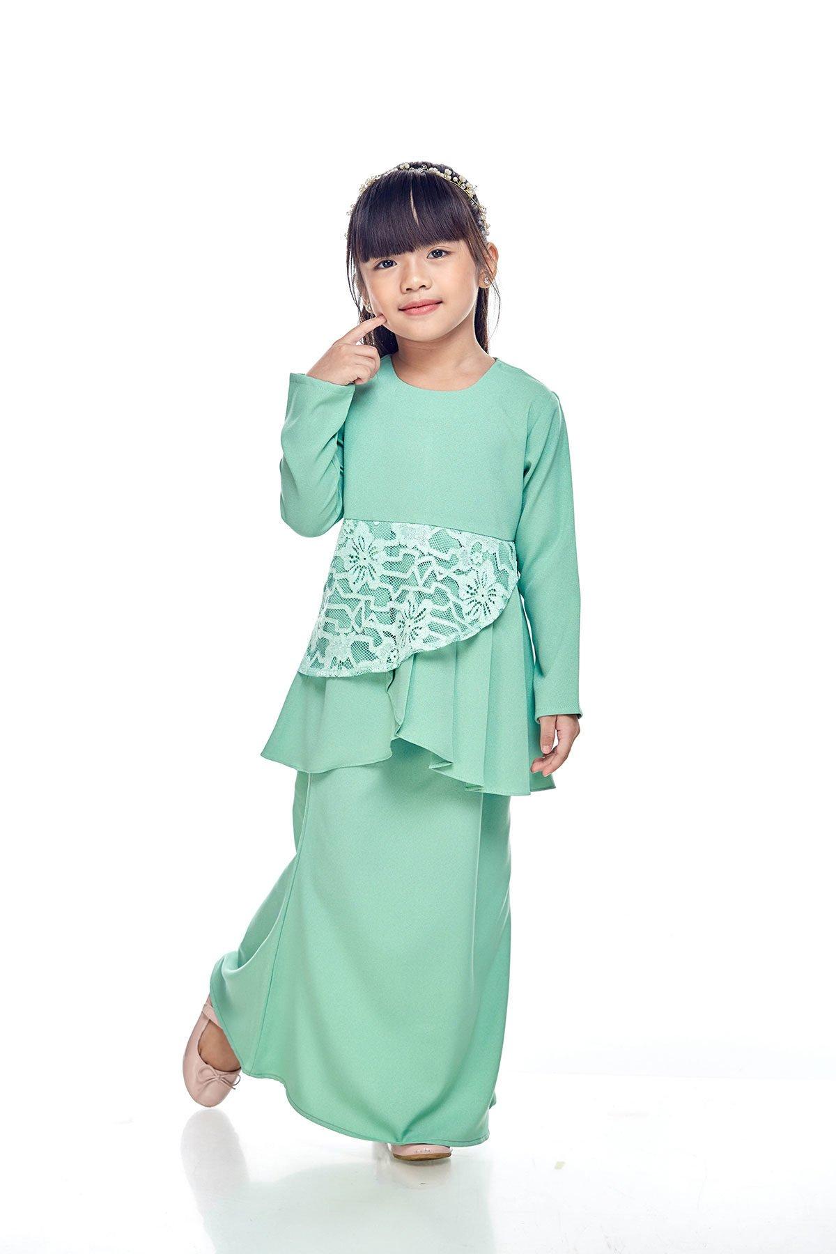 Tiana Peplum Kids Green Milk
