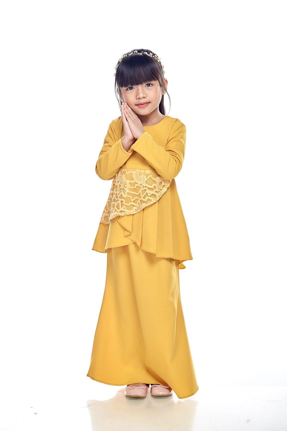 Tiana Peplum Kids Yellow Mustard